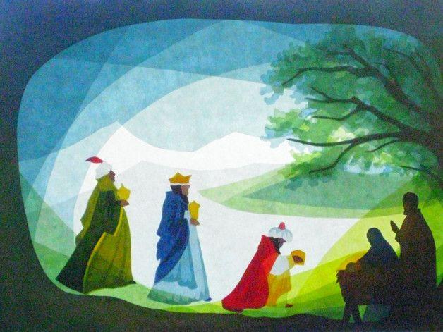 Transparentpapier Fensterbild zeigt Die Heiligen Drei Könige Geschenke an Jesus. Die Silhouette Rahmen ist mit Aquarellfarbe bemalt. In den Rahmen geschnitten sind Maria, Josef, dem Jesuskind und...