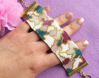 "Peyote Stitch Bracelet Pattern - ""Pretty Patches"" - Teal, Pink, Gold & White - Even Count Peyote with Miyuki Delicas"