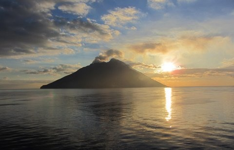 Mt. Stromboli along the north shore of Sicily, Italy at sunrise. #Europe #Mediterranean #Noordam