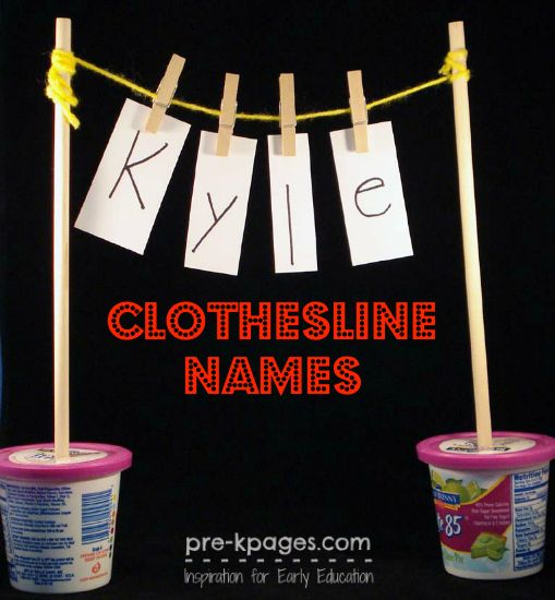 Spelling Names on the Clothesline in #preschool and #kindergarten
