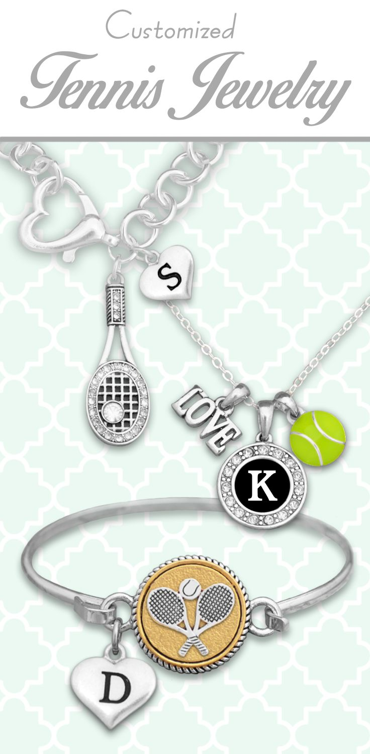 Tennis jewelry with custom initials - $9.98! Perfect for wearing your passion, or supporting a loved one! Find these and more customizable jewelry in our Tennis Collection!