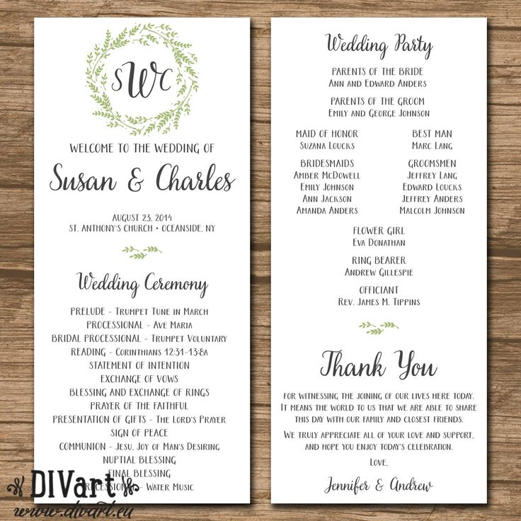 Wedding Program, Ceremony Program – PRINTABLE or PRINTED – rustic wedding, garden wedding, leaf wreath, sage gray – Susan