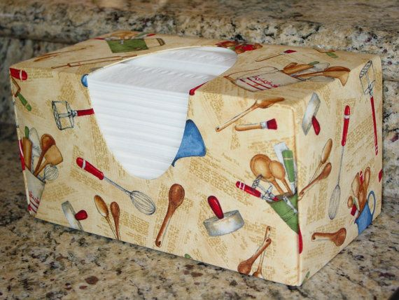 Farmhouse Cooking Utensils Fabric  Kitchen by TissueBoxCoversEtc, $21.95
