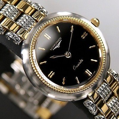 Longines Ladies Quartz Sapphire Glass Black Dial Swiss Made Vintage Used Watch