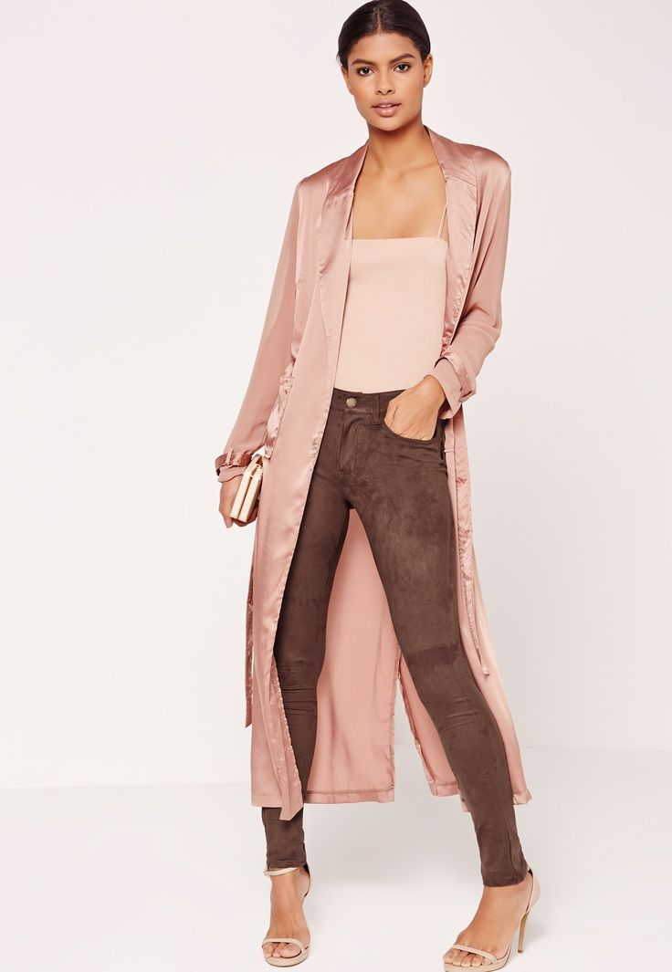 Missguided - Faux Suede Skinny Trousers Brown