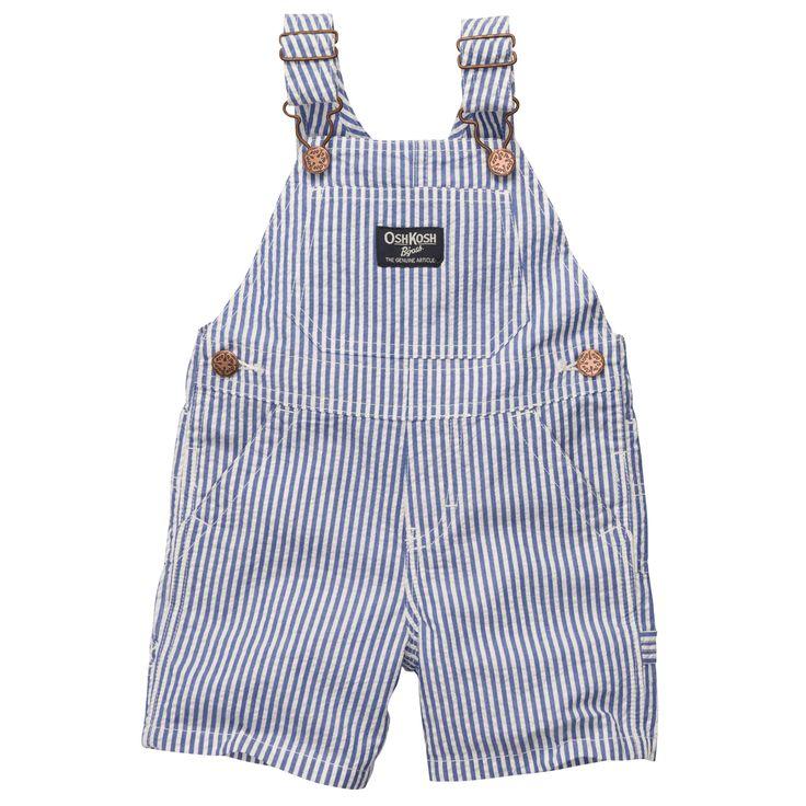 Seersucker Shortalls | Baby Boy Overalls