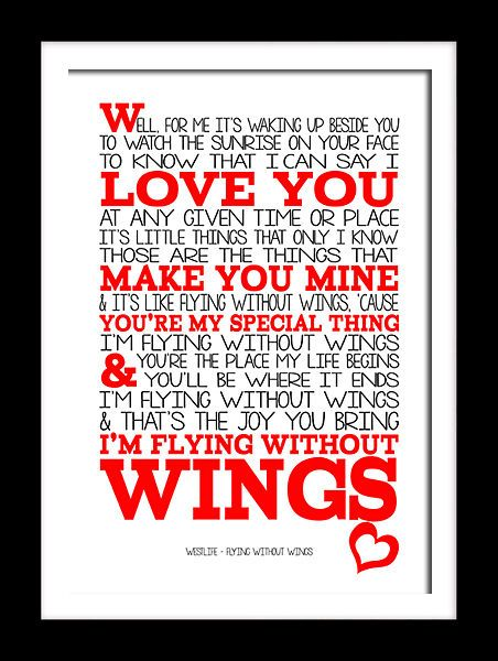 Westlife Flying without wings song lyrics art typography canvas and prints.