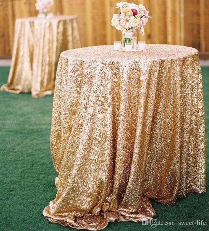 2015 bling rose gold sequins wedding party round table for Where can i buy table linens