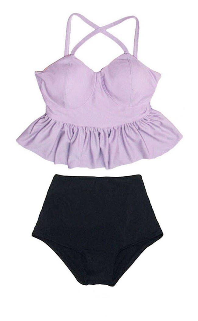 Lavender Peplum Tankini Top and Black Highwaist Highwaisted High Waisted Waist Cute Adorable Swimsuit Bikini Swimwear Bathing suit S M L XL by venderstore on Etsy