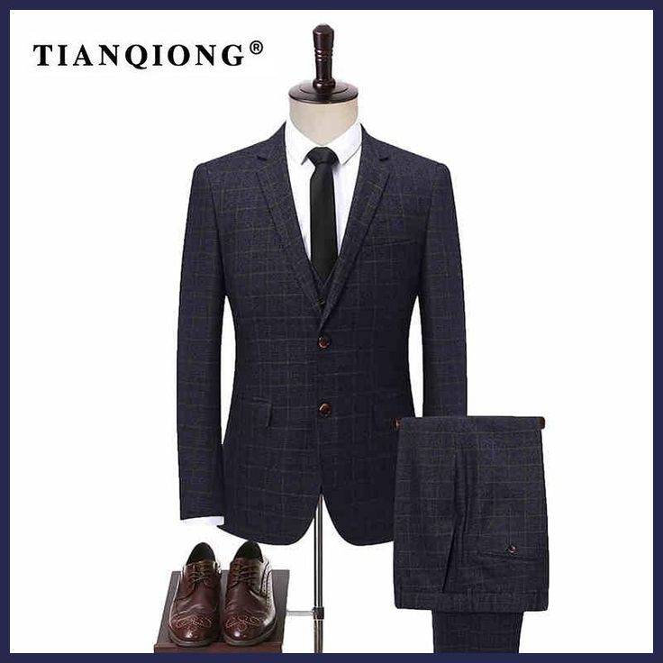 TIAN QIONG New Male Tailor-made Suit Set Groom Wedding Dress Suits Mens Gray Plaid Three Piece Sets Jacket with Vest with Pants