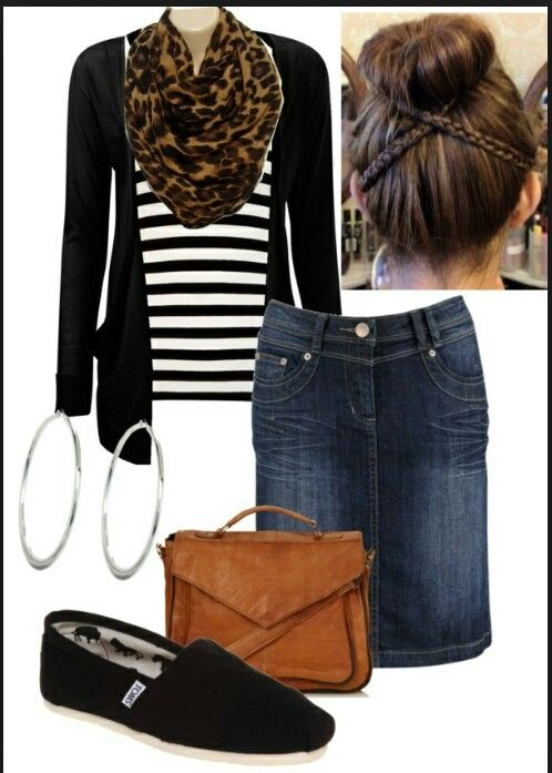 Black cardigan, striped tee, leopard infinity scarf, denim skirt, silver hoop earrings, tan messenger bag and black Toms with high sock bun. Love this outfit!
