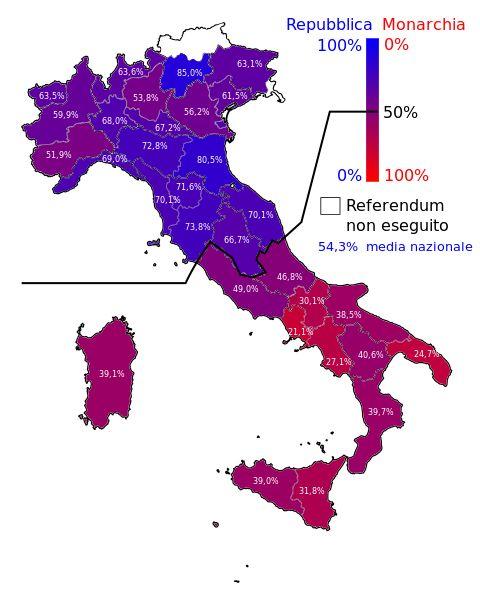 ITALIA - I diversi colori sulla mappa indicano le differenti percentuali a sostegno dell'introduzione della Repubblica al referendum del 2 giugno 1946. A favore della Repubblica vi furono il 54,3% dei voti. L'Alto Adige (tranne alcuni comuni) e Trieste non presero parte al referendum.   #TuscanyAgriturismoGiratola