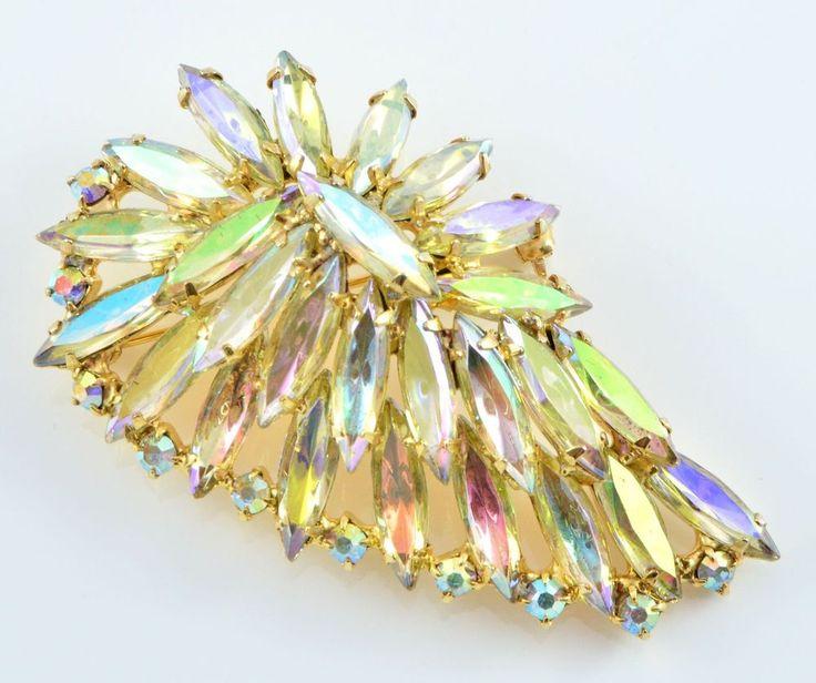 Vintage Brooch 1950s Aurora Borealis Navette & Goldtone Retro Bridal Jewellery #Unbranded