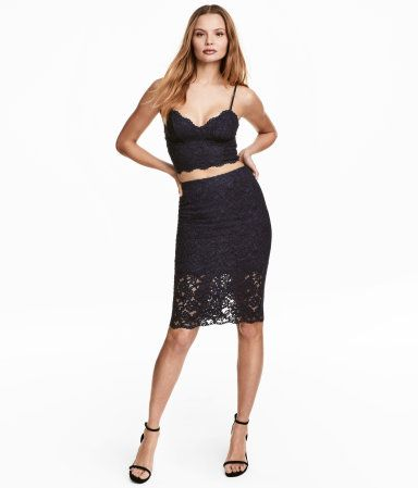 Dark blue. Knee-length skirt in lace with a concealed zip and slit at back. Lined.