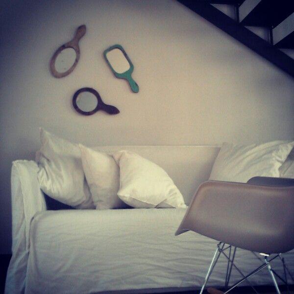 Piccoli specchi vintage con cornice in legno