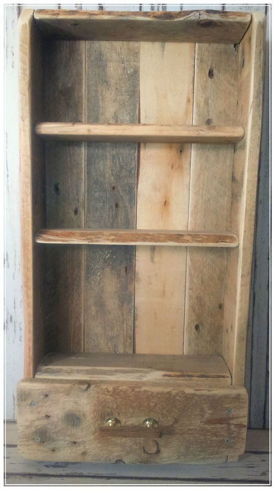 Hand Made Reclaimed Wood - Wooden Shelving Unit, With Drawer in Home, Furniture & DIY, Furniture, Bookcases, Shelving & Storage | eBay