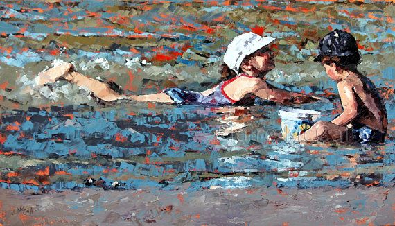 A modern impressionistic oil painting Playing In The Shallows II, completed with a palette knife. The original painting has been sold. This is a