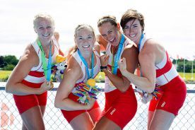 Canada's women's quadruple sculls team (left to right) Kerry Shaffer, Kate Goodfellow, Carling Zeeman and Antje Von Seydlitz celebrate winning the gold medal at the 2015 Pan Am Games on the Royal Canadian Henley Rowing Course in St. Catharines, Ont., Wednesday, July 15, 2015.