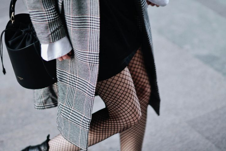 CHECKED COAT & FISHNET TIGHTS – Belle Melange
