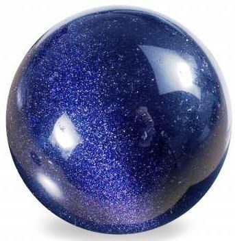 This stunning looking sphere is made of blue goldstone. The dull blue circle is imbued with shimmers and blue goldstone is believed to be an effective vitality