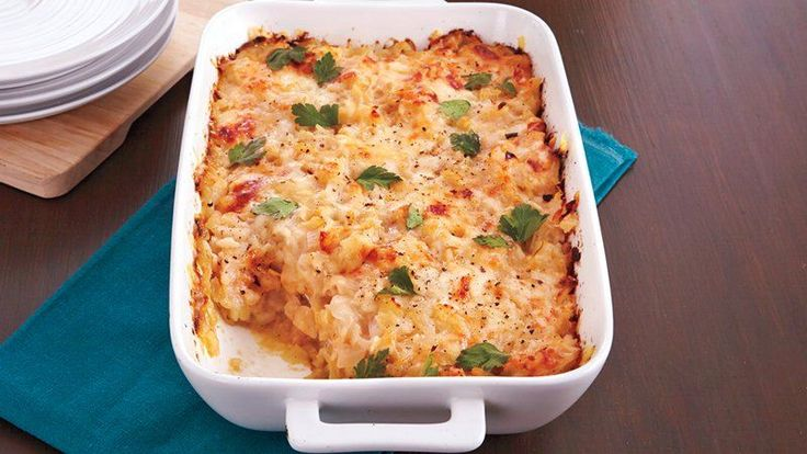 Plan you next casserole dinner with this recipe – sweet onions baked with rice is a delicious one-dish meal.