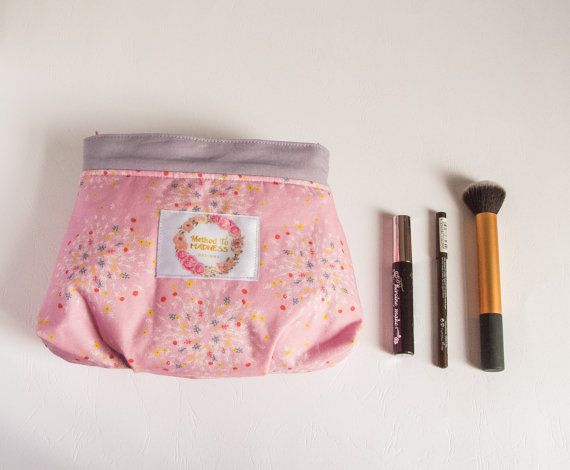Roomy makeup bag with pink flowers lined with by MethodtoMadnessCo