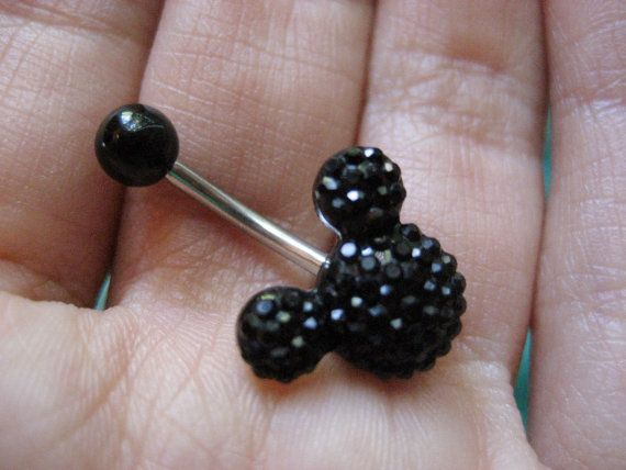 Disney Mickey Mouse Black Crystal Belly Button Ring Navel Jewelry Stud Bar Barbell on Etsy, $14.00