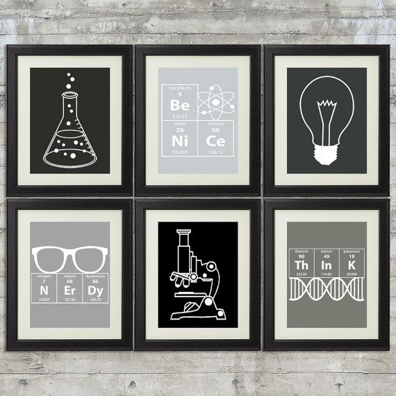 Nerdy Science Art set of 6 8x10 Instant by PrintsAndPrintables