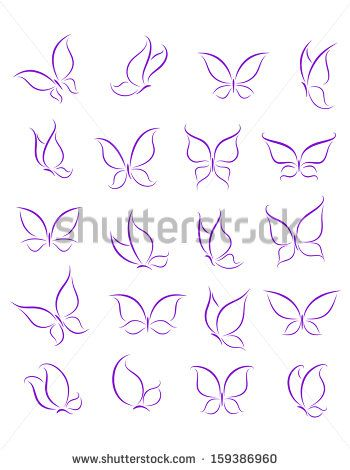 Butterfly silhouettes set for decoration or tattoo design or idea of ...