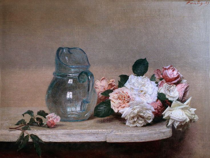 "Henri Fantin-Latour ""Roses and a Glass Pitcher"" 1889 Lyon Museum of Fine Arts 