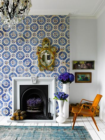 Gorgeous blue and white tiled fireplace