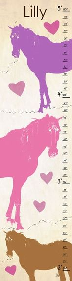 Pink and Purple Horse Personalized Growth Chart