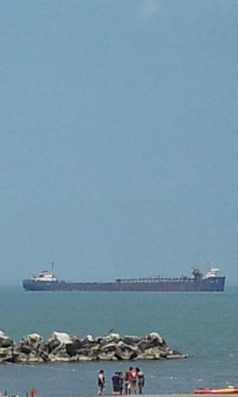 Big ships out on Lake... Lake Erie Cleveland Ohio