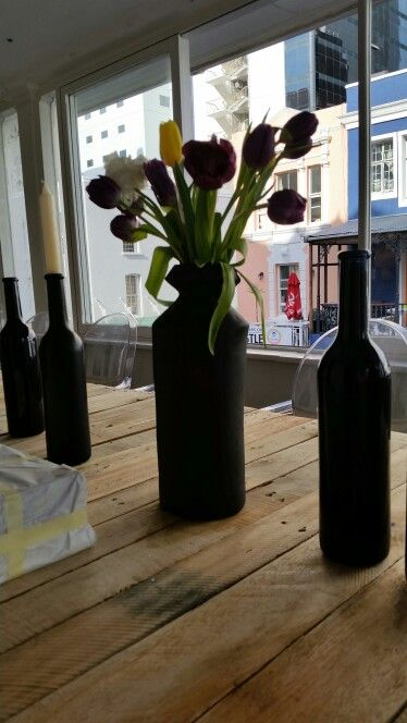 Tulips look good in these unique hand crafted vases