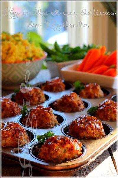 Mignons comme tout et combien bons, ces pains de viande en format mini feront fureur sur la table ;)   ~Note: Peut facilement se congeler....