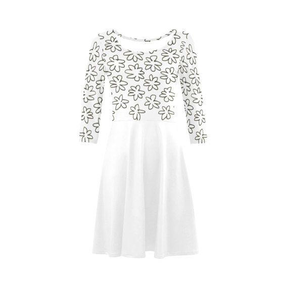 Hand drawn vintage Dress : black white by RosemaryWellnessShop