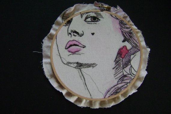 Hand Embroidered artwork   Marie  15 cm by mynameisalice on Etsy, $25.00