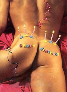 I got you a bum't cake for your birthday. Now make a wish and blow. Happy Birthday