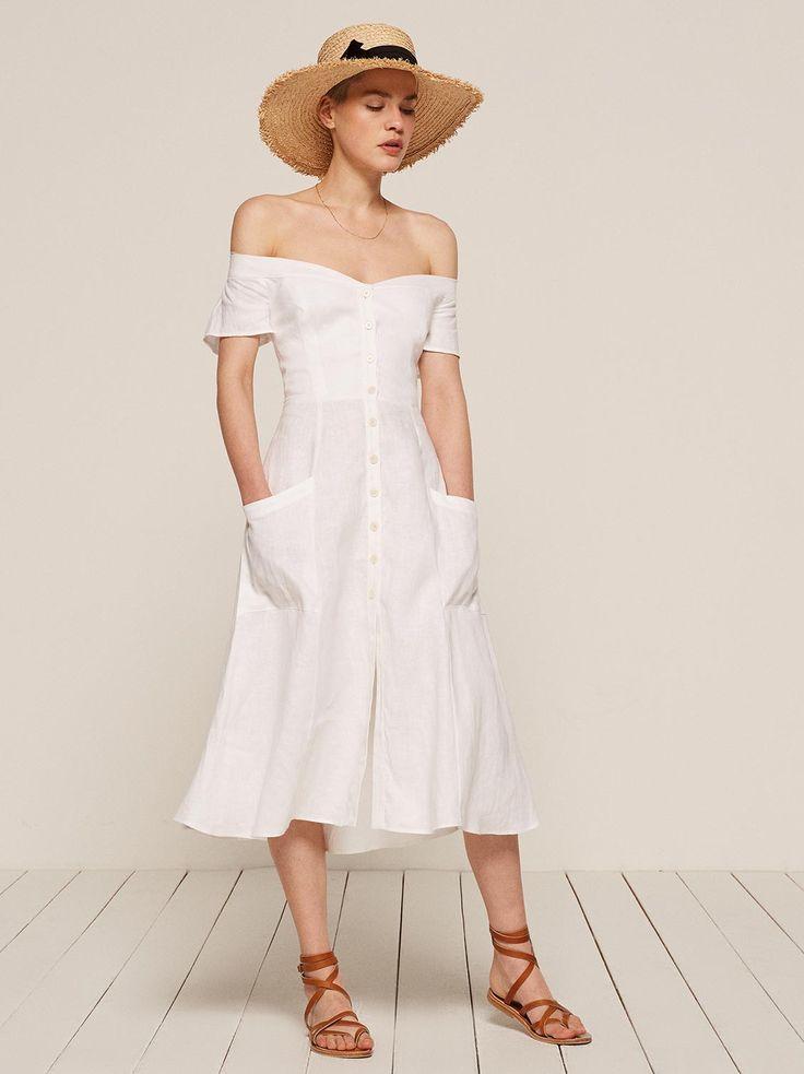 Mariposa off the shoulder midi dress white  Reformation