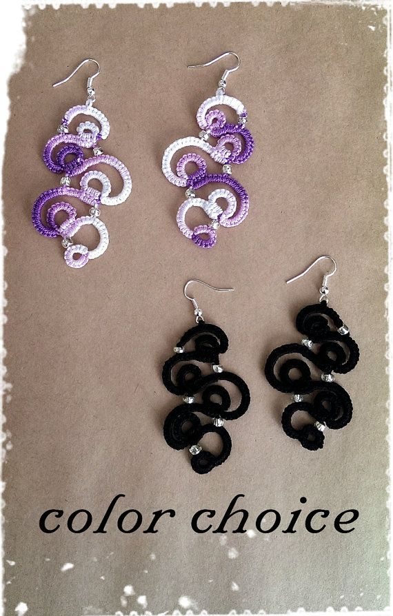 Tatting Lace Earrings curve SHANGHAI by CandiedCherrybyKC, $18.00