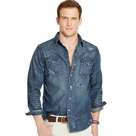 Polo Ralph Lauren Distressed Denim Western Shirt Alton Repaired Wash
