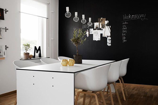 Černobílý byt ve skandinávském stylu - jídelní kout - tabulová stěna