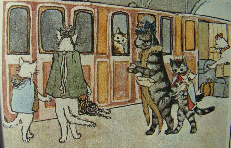 "A page out of a vintage book called ""Holiday in Catland"" by Alice Goyder."
