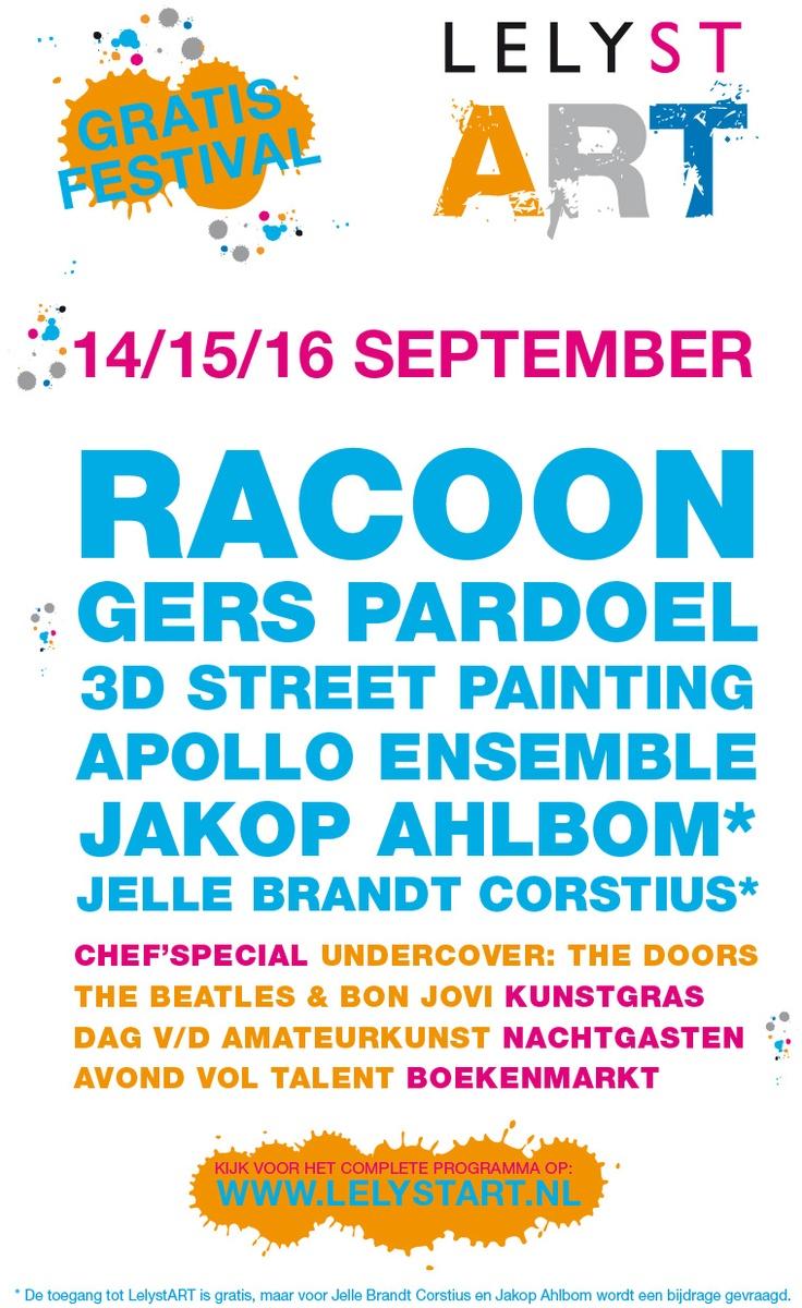 Gratis Festival 14,15,16 september, LelystArt, #Lelystad