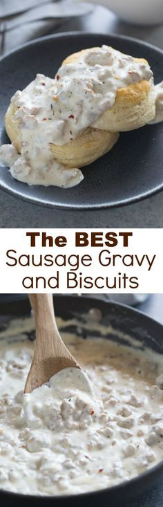 The BEST Sausage Gravy and Biscuits! An easy, southern-style sausage gravy with flaky homemade biscuits. One of our favorite breakfast recipes of all time!
