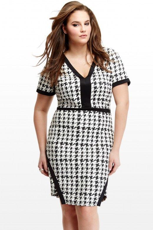 Плюс Размер Houndsooth Глубокий V-образным вырезом вязать платье | Мода чтобы понять