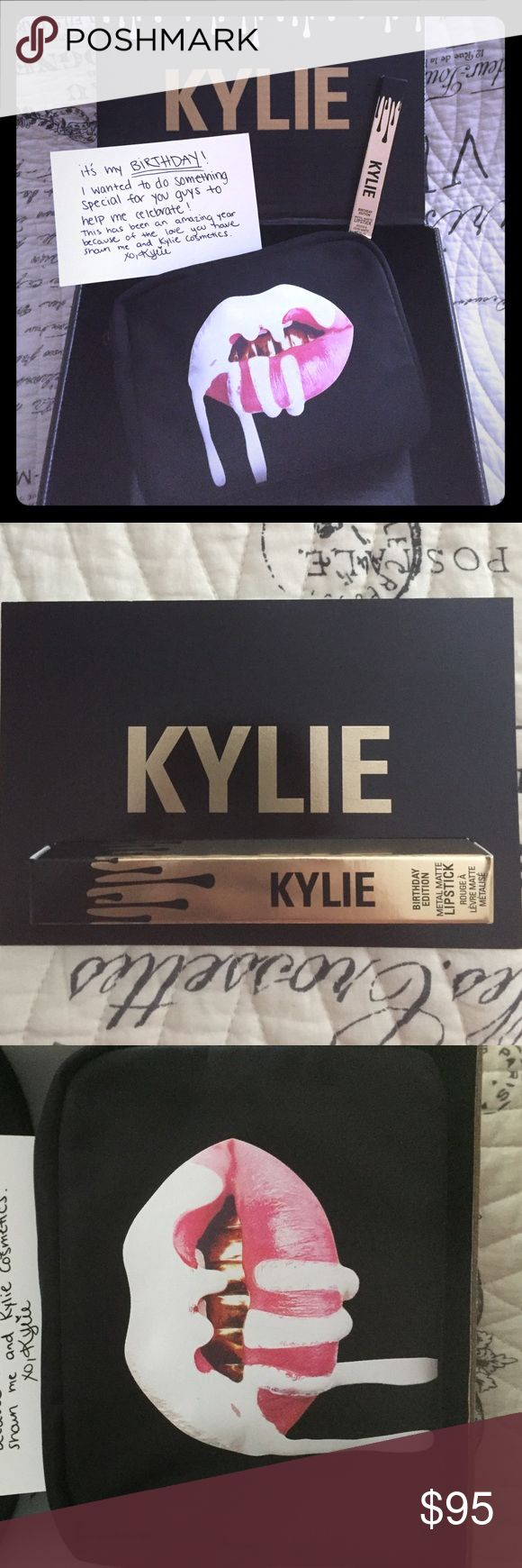 💥Kylie Birthday Makeup Bag & Lord Metal Bundle💥 A limited edition birthday special Kylie Jenner's Makeup Case 👝 and Lord Metal Lipstick 💄bundled into one. ✨Brand new, AUTHENTIC never been used✨ And I will ship it in the original Kylie box with the card. 💋 Kylie Cosmetics Makeup