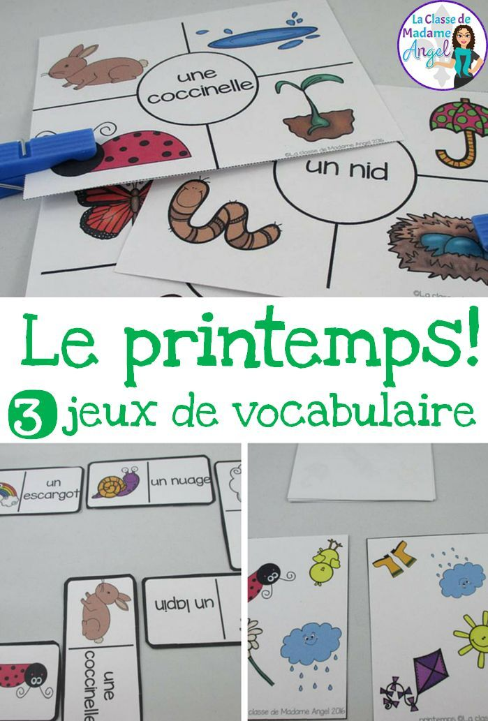 Printemps!  3 Spring themed vocabulary games in French.  Perfect for small groups or literacy centers!
