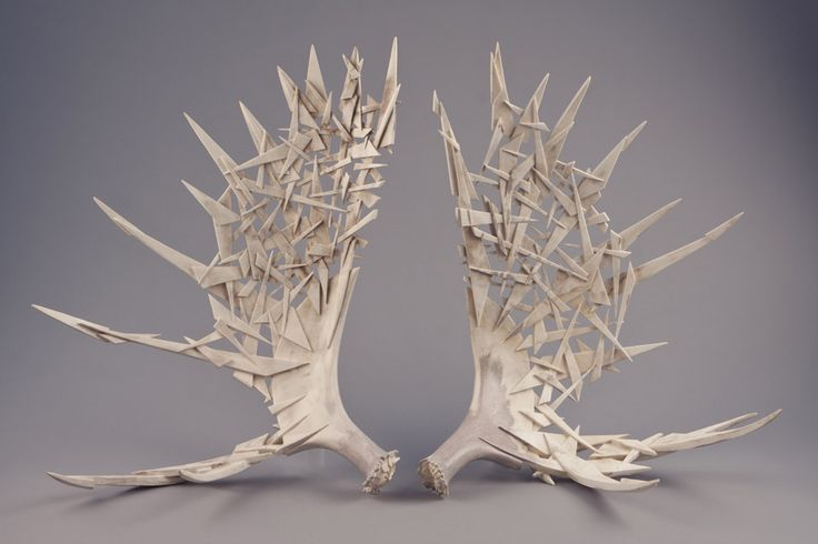'Candle Ice Two' by Shane Wilson  carved moose antler sculpture