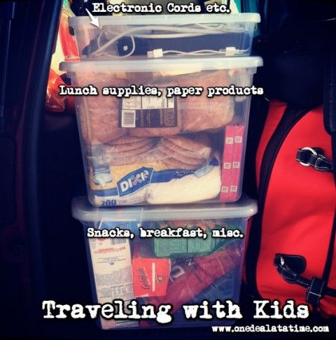 Traveling with kids - how to pack the car - LOVE THE BOX FOR CORDS!